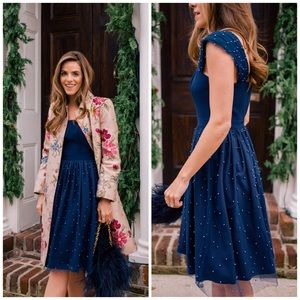 NWT Gal Meets Glam Delores Navy Pearl Dress